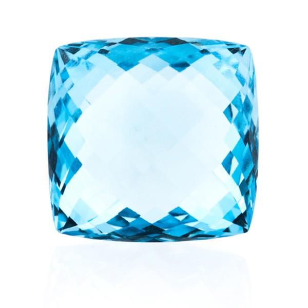 Blue topaz, sky blue, faceted briolette, antique shape, 18 x 18 mm