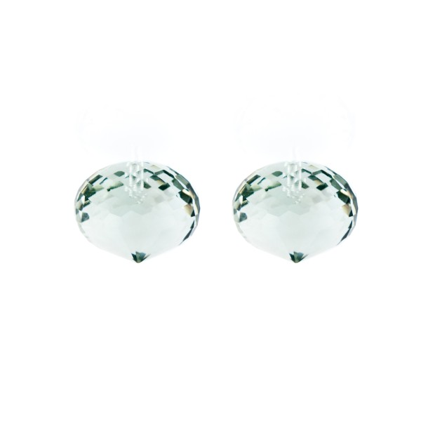 Prasiolite (green amethyst), green, faceted teardrop, onion shape, 13 x 11 mm