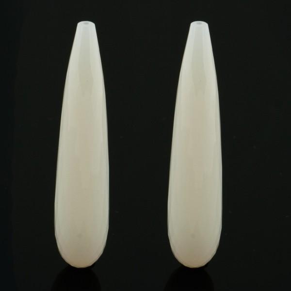 Achat, gefärbt, weiß, Pampel, facettiert, 41x9 mm