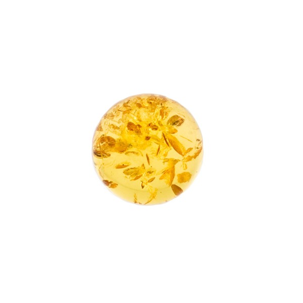 Natural amber, golden, cabochon, round, 10 mm