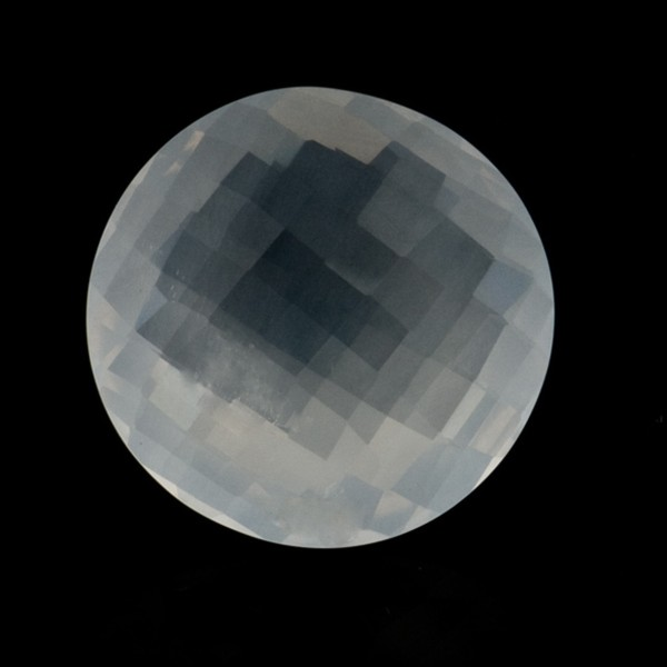 Milky quartz, white, faceted briolette, round, 18 mm