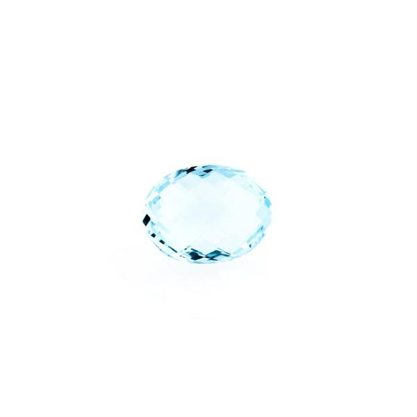 Blue topaz, sky blue, faceted briolette, oval, 8 x 6 mm