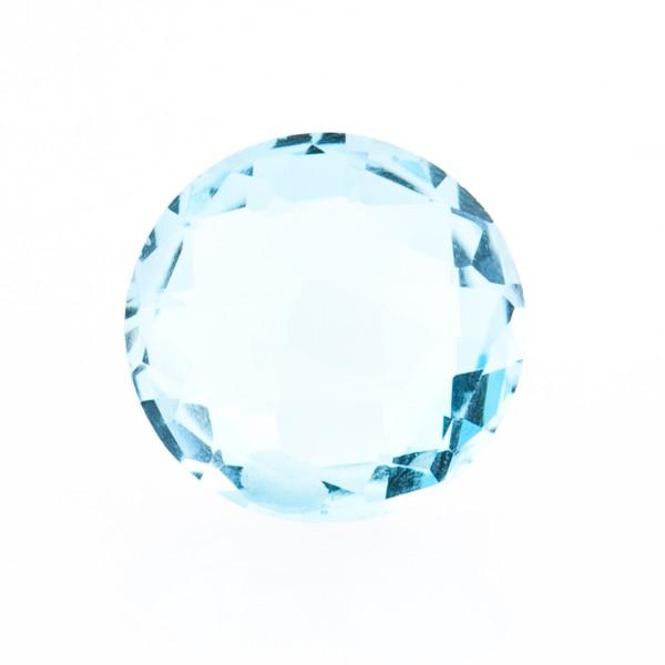 Blue topaz, sky blue, faceted briolette, round, 14 mm