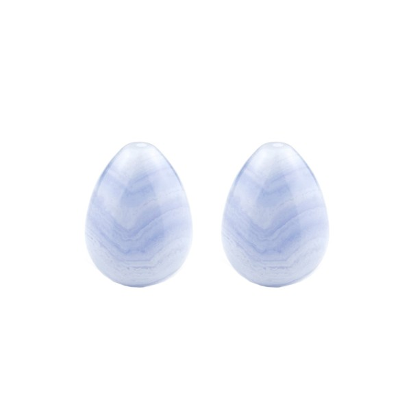 Banded chalcedony, blue, teardrop, smooth, 17 x 13 mm