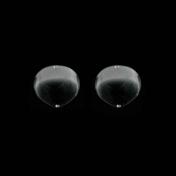 Rock crystal, transparent, colorless, smooth teardrop, onion shape, 13 x 11 mm