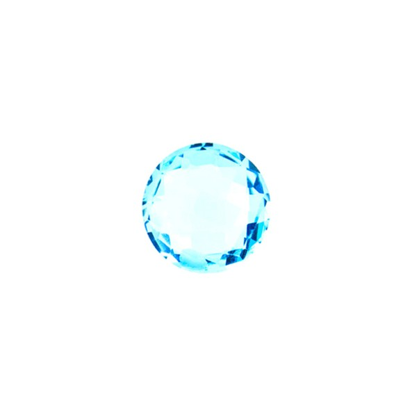 Blue topaz, swiss blue (intense), faceted briolette, round, 8 mm