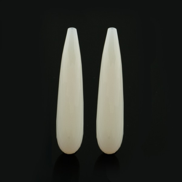 Agate, dyed, white, teardrop, faceted, 35 x 8 mm