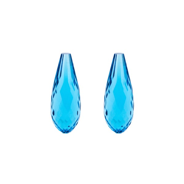 Blautopas, Swiss Blue, intensiv, Pampel, facettiert, 22x10 mm