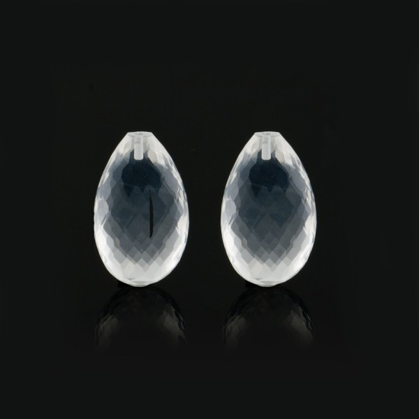 Rock crystal, transparent-colorless, faceted teardrop (harlequine), 18x11mm