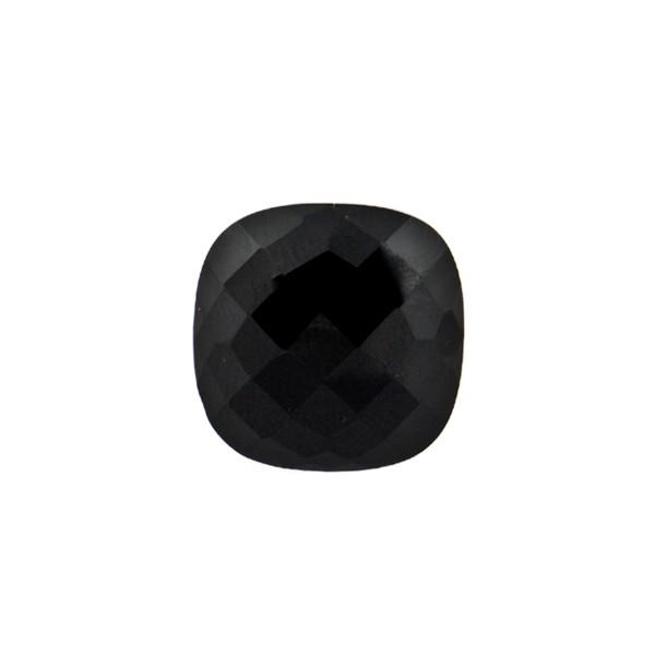 Onyx, black, faceted briolette, antique shape, 12 x 12 mm