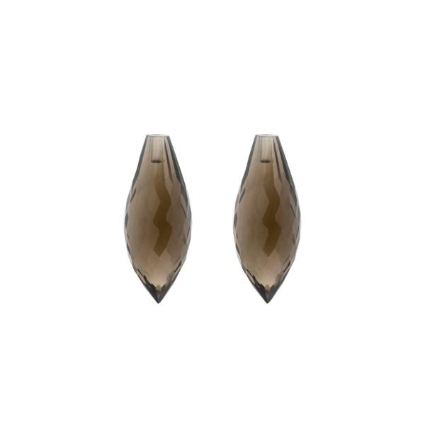 Rauchquarz, dunkelbraun, Spitzpampel, facettiert, 20 x 8 mm