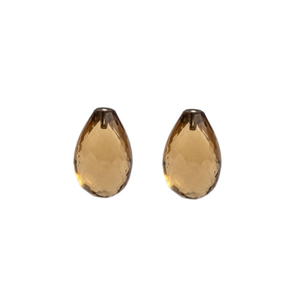 Champagne quartz, champagne, faceted teardrop (harlequine), 18x11mm