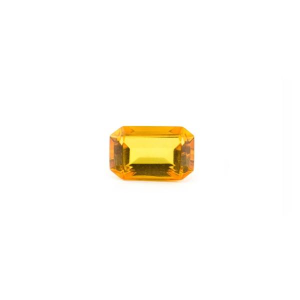 Natural amber, golden, faceted, octagonal, 8 x 6 mm