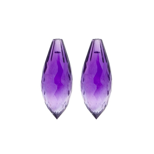 Amethyst (Africa), dark violet, pointed teardrop, faceted, 26 x 10 mm