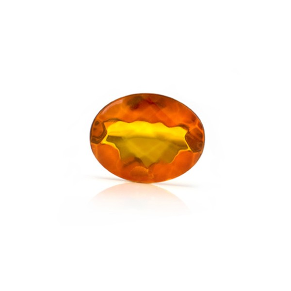 Natural amber, cognac-colored, faceted, diagonal chessboard pattern, oval, 10 x 8 mm