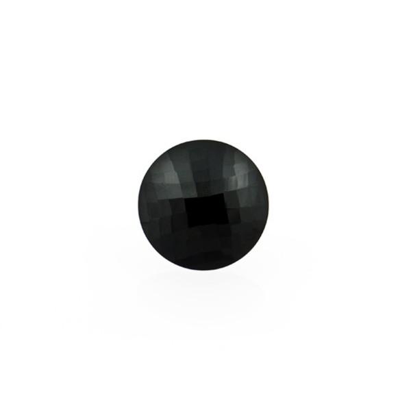 Onyx, schwarz, Briolett, facettiert, rund, 8 mm