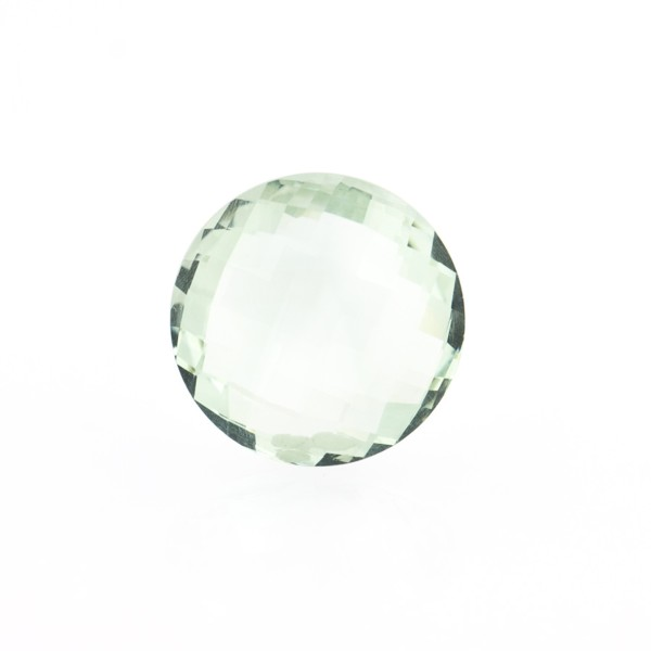 Prasiolite (green amethyst), green, faceted briolette, round, 12 mm
