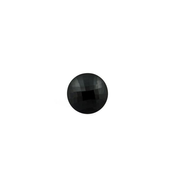 Onyx, black, faceted briolette, round, 6 mm