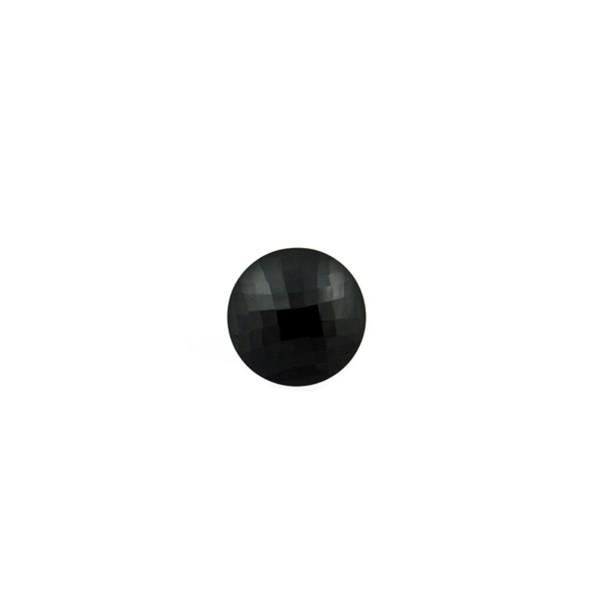 Onyx, schwarz, Briolett, facettiert, rund, 6 mm