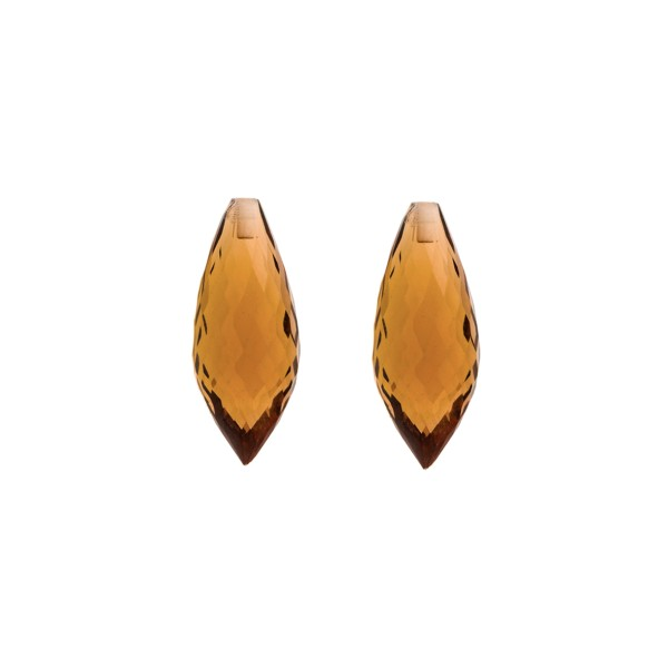 Cognac quartz, cognac-colored, pointed teardrop, faceted, 20 x 8 mm