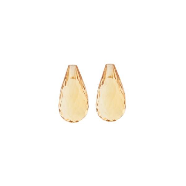 Citrine, golden color, teardrop, faceted, 15 x 8 mm