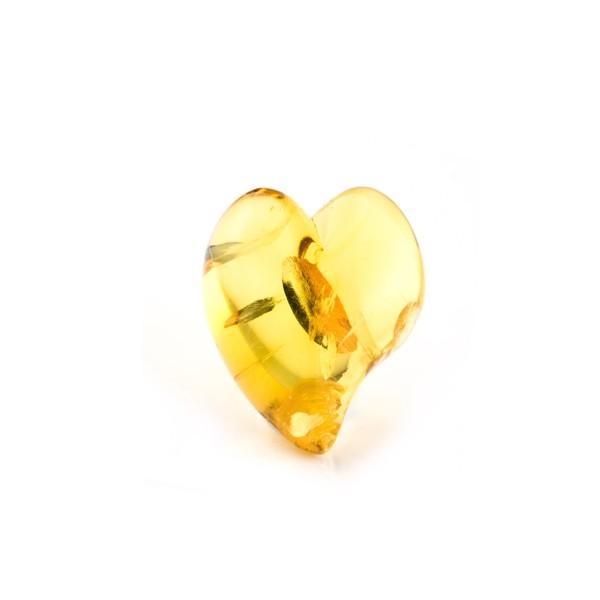 Bernstein (natur), goldfarben, Herz (geschwungen), Linse, glatt, 17,5x16mm