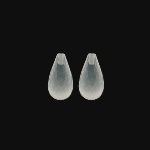Milky quartz, white, teardrop, faceted, 15 x 8 mm
