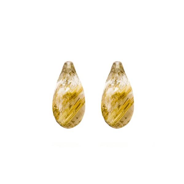 Rutilquarz, goldene Nadeln, Pampel, facettiert, 18x10 mm