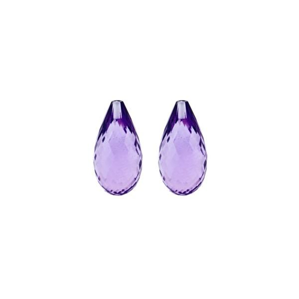 Amethyst (Brazil), medium violet, faceted teardrop, 15 x 6 mm