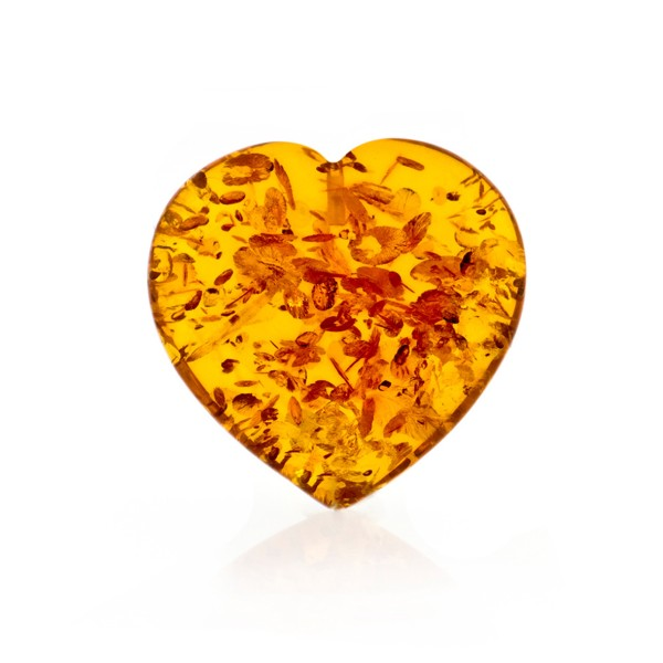 Natural amber, cognac-colored, lentil cut, smooth, heart shape, 23 x 23 x 8 mm