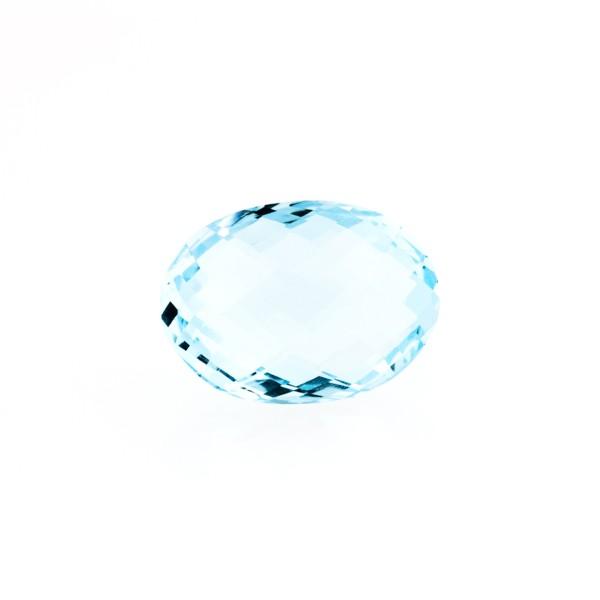 Blue topaz, sky blue, faceted briolette, oval, 12 x 10 mm