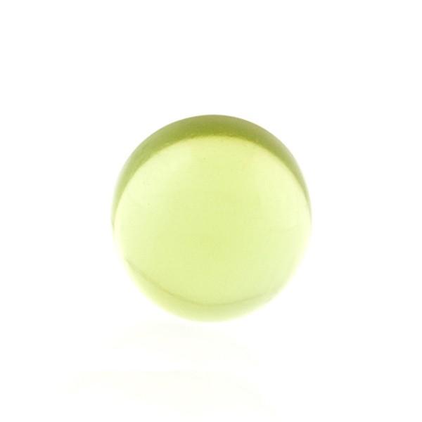 Natural amber, green, cabochon, round, 14 mm