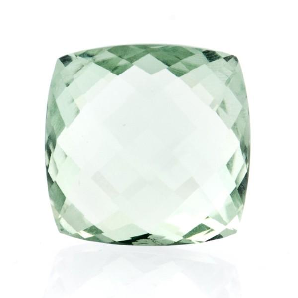 Prasiolith (Amethyst, grün), Briolett, facettiert, antik, 18x18mm
