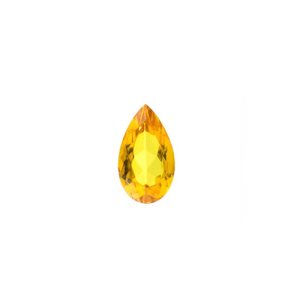 Natural amber, golden, faceted, pear-shaped, 10 x 7 mm
