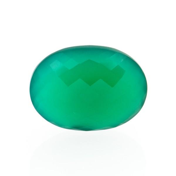 Achat, gefärbt, grün, Briolett, facettiert, oval, 16x12mm