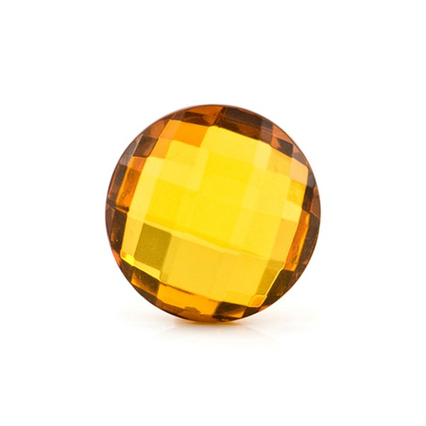 Natural amber, cognac-colored, briolette, round, 15 mm