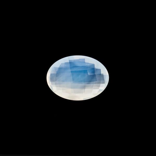 Citrin, weiß, Briolett, facettiert, oval, 10x8mm