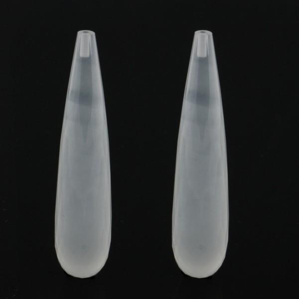 Milky quartz, white, teardrop, faceted, 41 x 9 mm