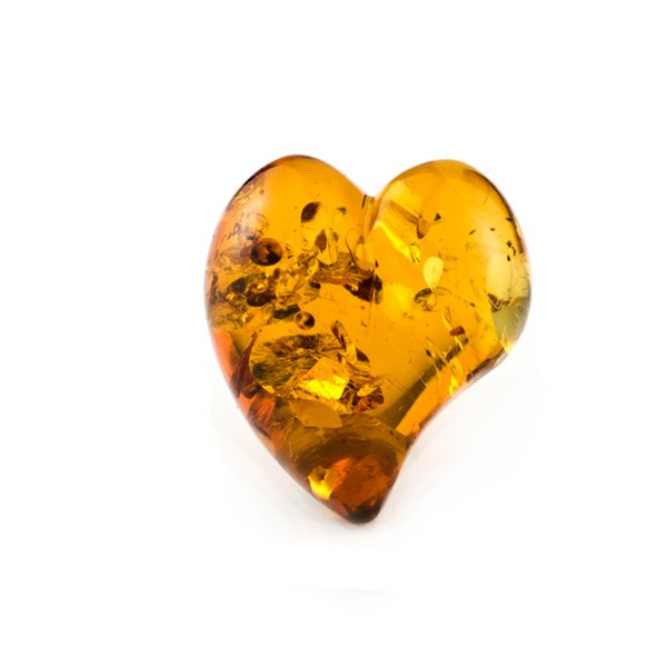 Natural amber, cognac-colored, lentil cut, smooth, curved heart shape, 22 x 20 mm