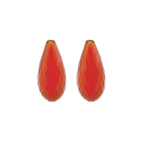 Achat, gefärbt, rot, Pampel, facettiert, 22x10 mm