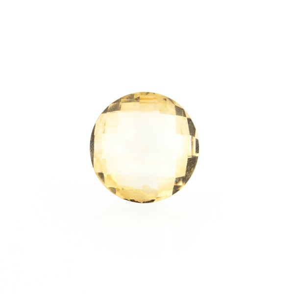 Citrine, light golden color, faceted briolette, round, 10 mm