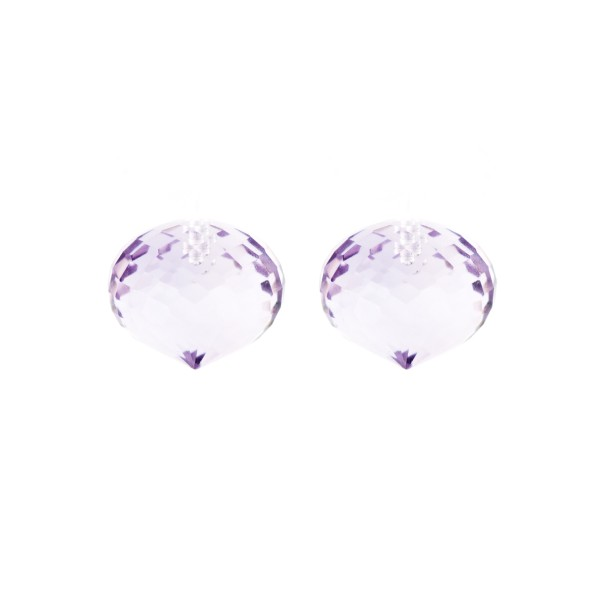 Amethyst (Brazil), lavender, faceted teardrop, onion shape, 13 x 11 mm