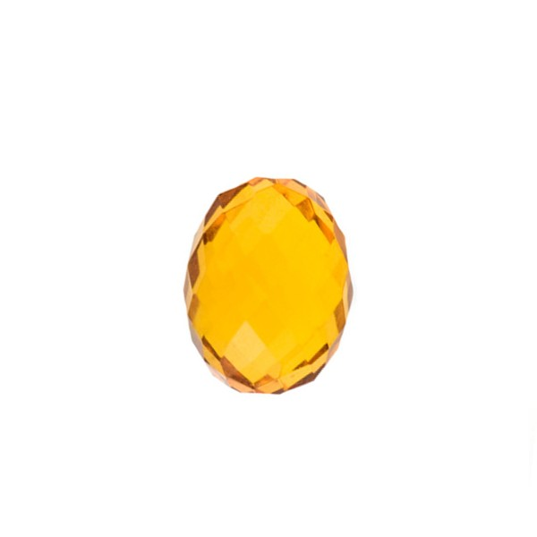 Natural amber, cognac-colored, olive shape, faceted, 10 x 7 mm