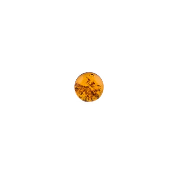 Natural amber, cognac-colored, cabochon, pressed, round, 8mm