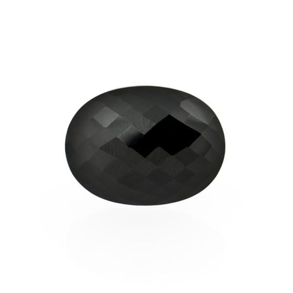 Onyx, black, faceted briolette, oval, 14 x 10 mm