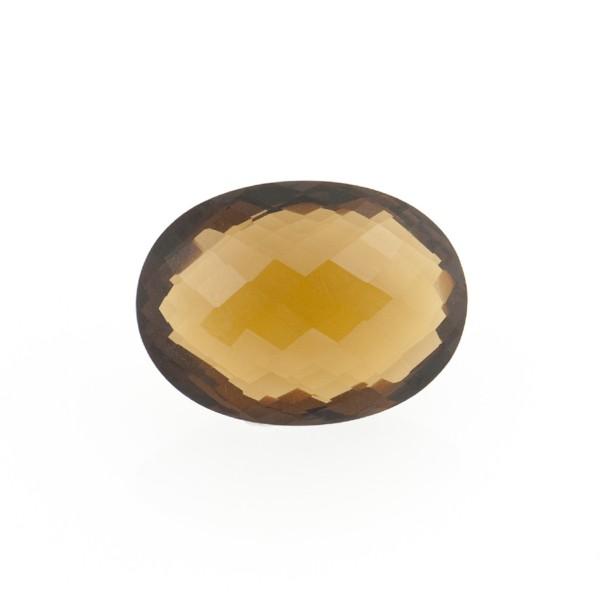 Cognacquarz, cognacfarben, Briolett, facettiert, oval, 14x12mm