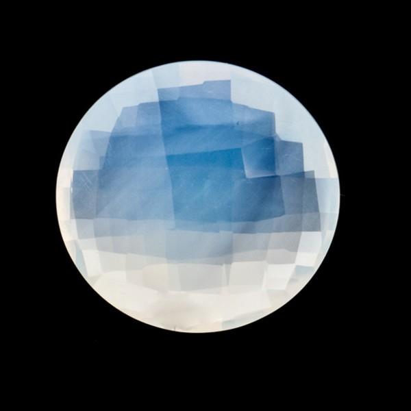 Citrine, white, faceted briolette, round, 18 mm