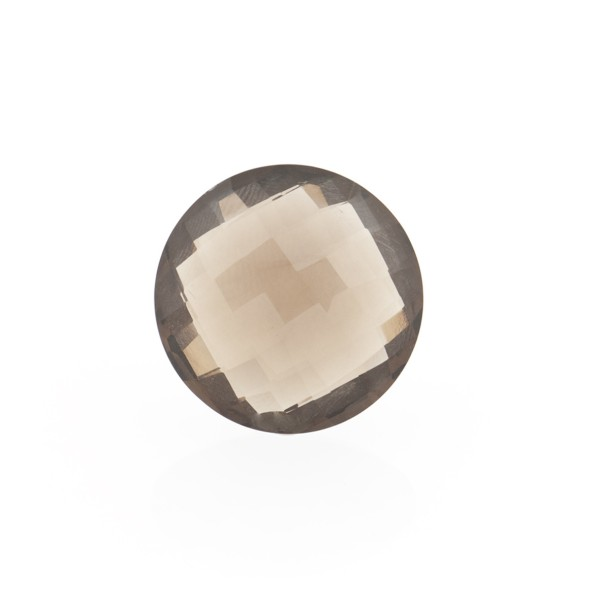 Smoky quartz, medium brown, faceted briolette, round, 12 mm