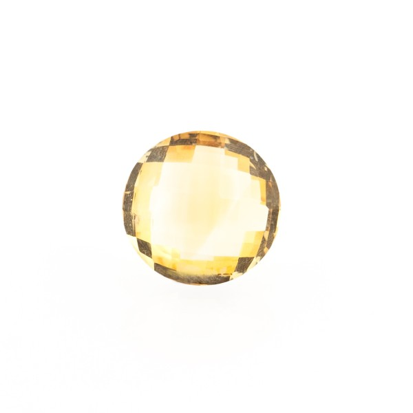 Citrine, golden color, faceted briolette, round, 10 mm