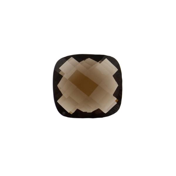Smoky quartz, medium brown, faceted briolette, antique shape, 10 x 10 mm